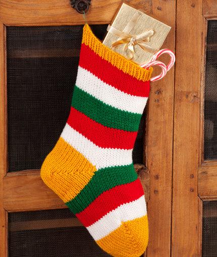 Striped Holiday Stocking Free Knit Pattern
