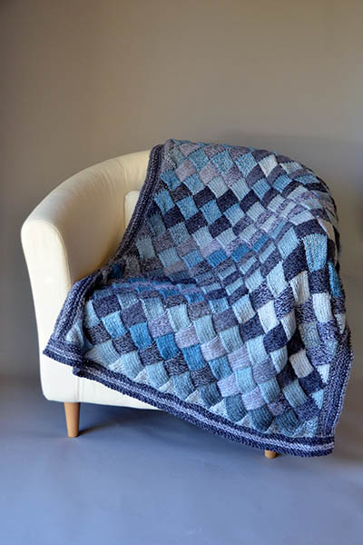 Woven Sky Throw Free entrelac knitting pattern