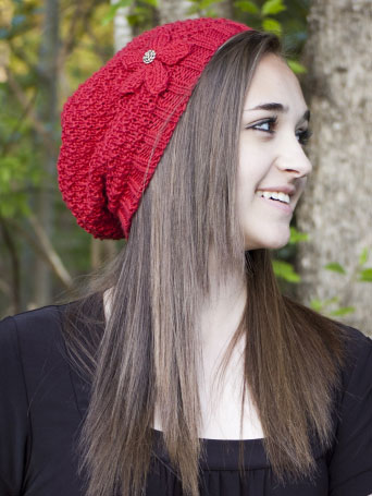hat with flower knit pattern