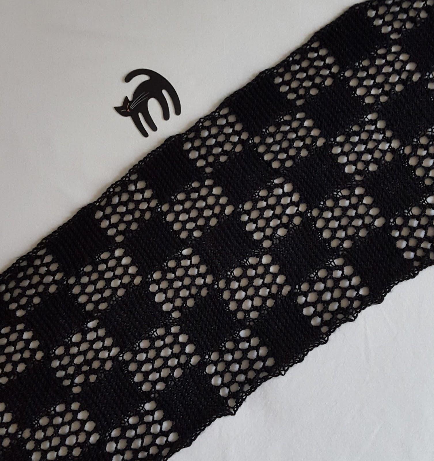 Checkered Lace Scarf Free Knitting Pattern