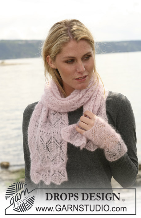 Delicate scarf and wrist warmers in lace pattern