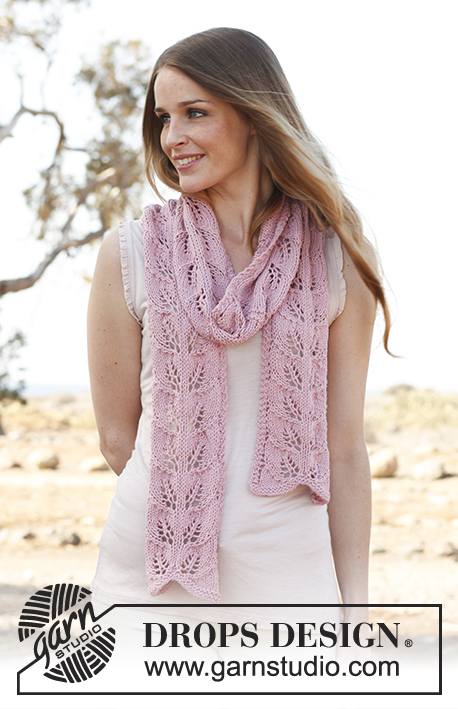 Honey rose lace leaf stitch scarf pattern knit