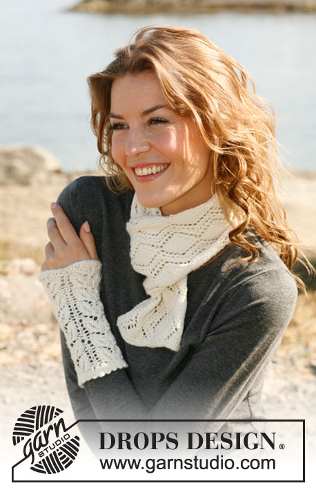 Lace Scarf and Wrist Warmers Free Knitting Pattern