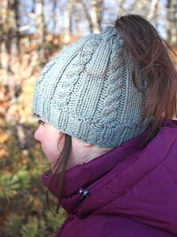Riva Bun Hat Free Cabled Knitting Pattern