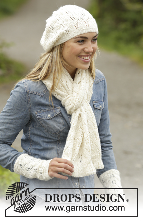Snow Angel Free Lace Scarf, Hat and Wristwarmers Knitting Pattern