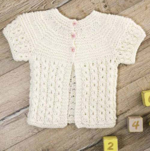 Short-Sleeved Cardigan Free Knitting Pattern for Infants