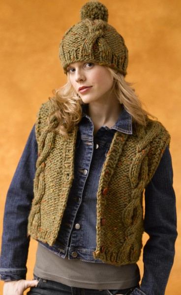 Baby Tweed Vest with Hat Cabled Free Knitting Pattern