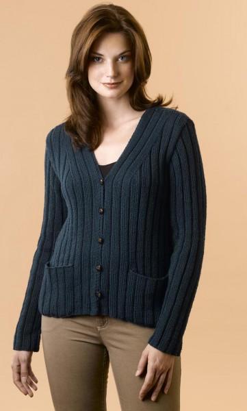 Elen Cashmere Ribbed Cardigan Free Knitting Pattern