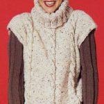 Soho Bulky Tweed Cabled Oversize Vest Free Knitting Pattern