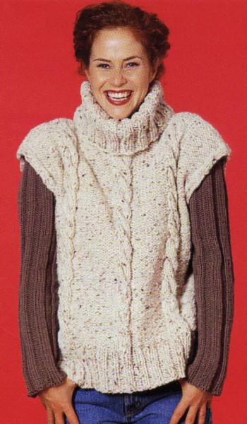 84d183e4ec22 Soho Bulky Tweed Cabled Oversize Vest Free Knitting Pattern ...