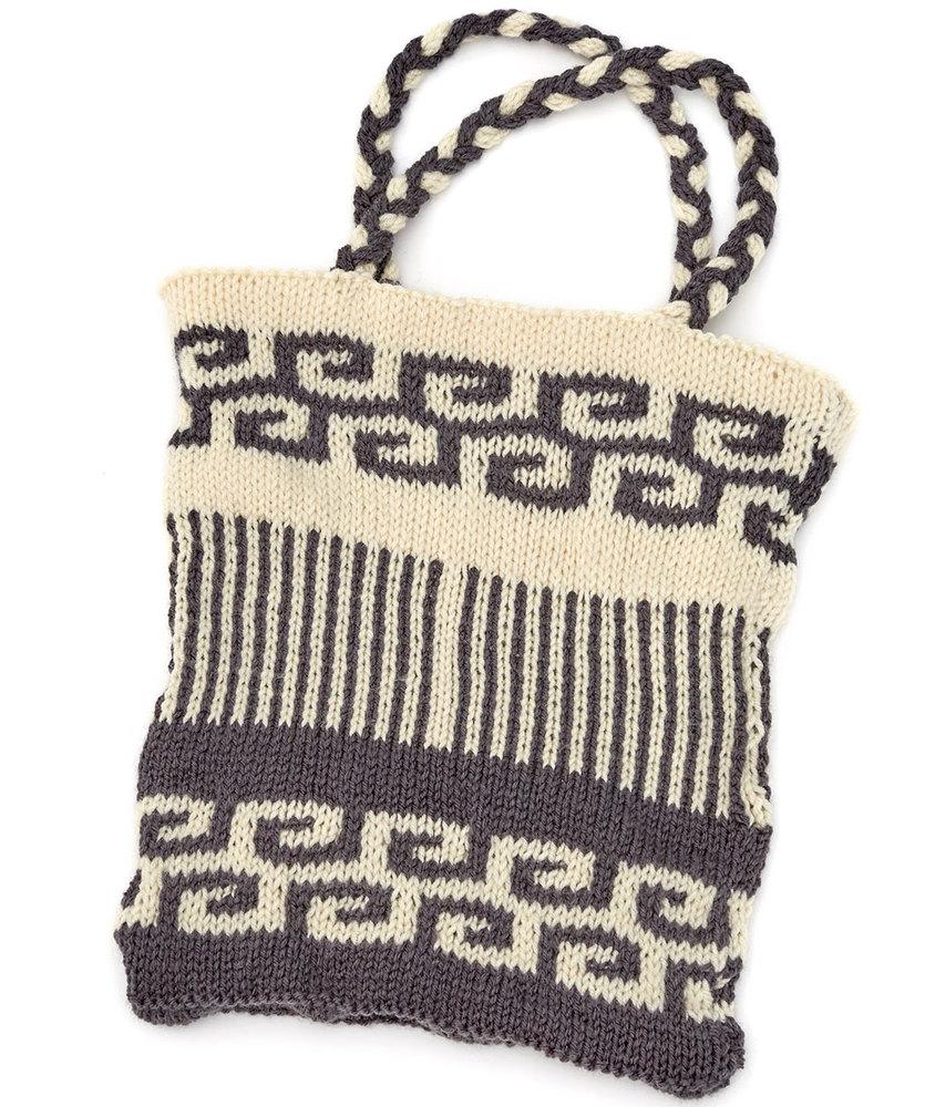 Swirls and Stripes Mosaic Bag Free Knitting Pattern