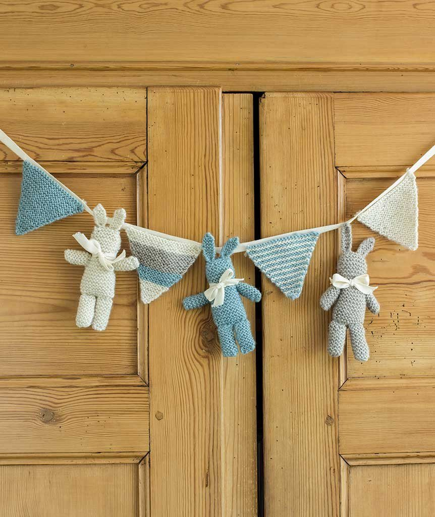 Baby Bunny and Bunting Project Free Knitting Pattern