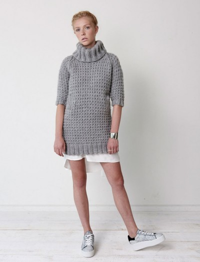 Bernat Slouchy Sweater Dress Free Knitting Pattern