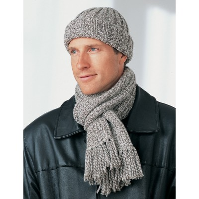 Men's Hat and Scarf Free Knitting Pattern