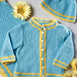 Moss Stitch Cardi and Cap Free Baby Knitting Pattern