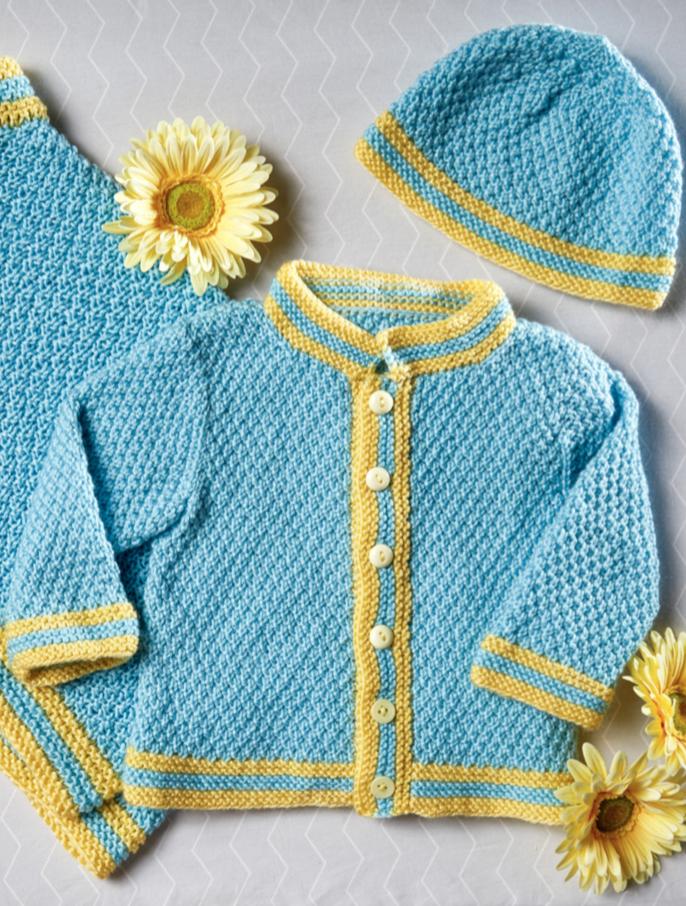 Moss Stitch Cardi and Cap Free Baby Knitting Pattern