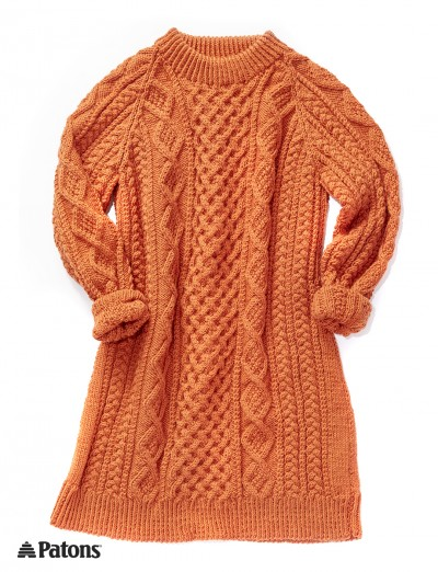 Patons Honeycomb Aran Dress Free Knitting Pattern Knitting Bee