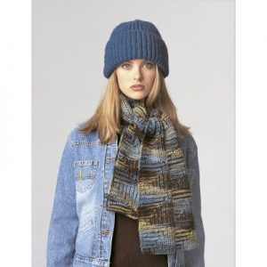 Patons Shaker Stitch Set Scarf and Hat Knit Pattern