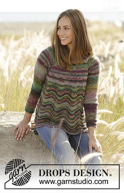 Spring Forest Wavy Stitch Sweaterjumper Free Knitting Pattern
