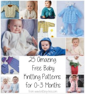 25 Amazing Free Baby Knitting Patterns for 0-3 Months from https://www.knitting-bee.com