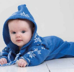 Baby Ull Hooded Jumpsuit & Hat Free Knitting Pattern