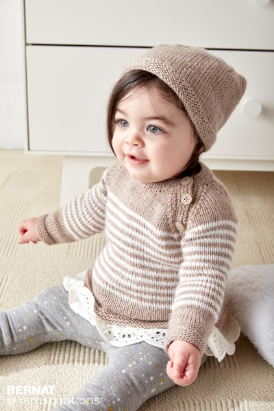 5ec1e8d2a1da Bernat Wee Stripes Knit Pullover and Hat Free Pattern ⋆ Knitting Bee