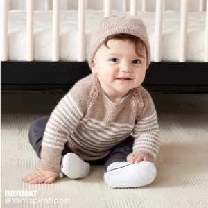 Bernat Wee Stripes Knit Pullover and Hat Free Pattern