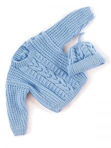 Bob Cabled Sweater and Hat Free Knitting Pattern for Babies