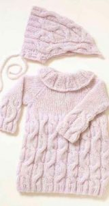Cabled Dress & Bonnet Baby Knitting Pattern Free
