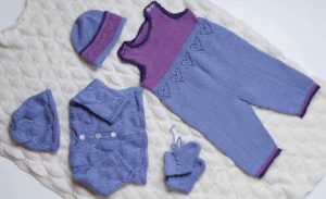 Baby Blanket, Cardigan, Hat, Booties & Pants with Hat