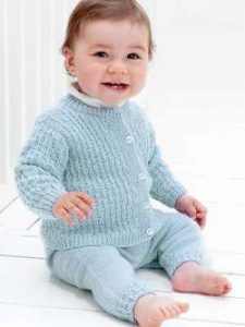 Cardigan, Pants & Hat Free Baby Set Knitting Pattern