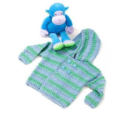 Caron Baby Boy Hooded Sweater Free Easy Knit Pattern