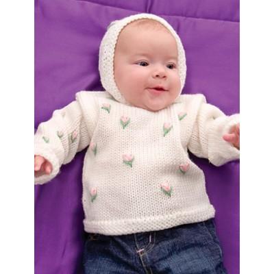 Caron Rosebud Hoodie free baby knitting pattern