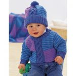 Patons Cables and Checks Set Sweater and Hat Baby Knitting Pattern