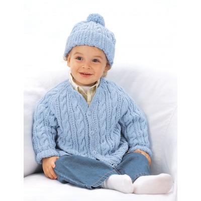 Patons Raglan Cables Set Hat and Cardi Free Knitting Pattern