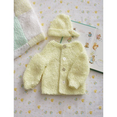 Preemie Garter Stitch Set Cardi and Hat Free Knitting Pattern