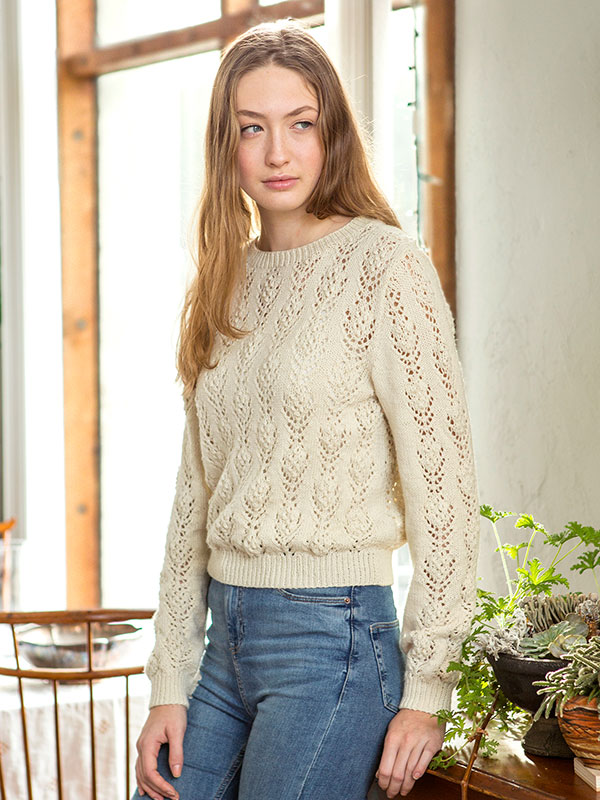 Rosabella Free Lace Flower Sweater Knit Pattern ⋆ Knitting Bee