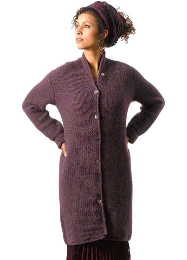 Asia Long Seed Stitch Coat Free Knitting Pattern
