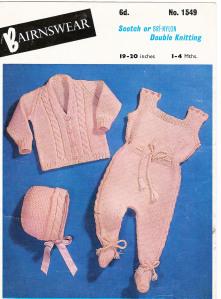 Bairnswear No.1549 – Pram Set Free Vintage Baby Knitting Pattern