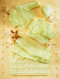 Blanket, Cardigans and Hat Layette Free Baby Knitting Patterns