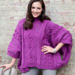 Cable and Bobble Poncho Free Knitting Pattern