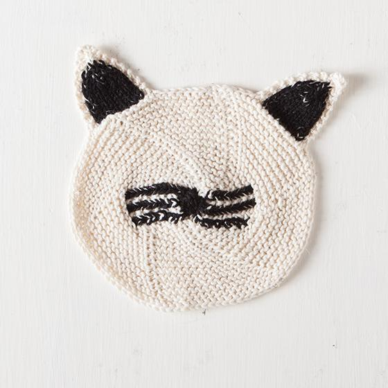 Cat Face Dishcloth Free Knitting Pattern