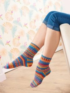 Colourful socks Free Knitting Pattern