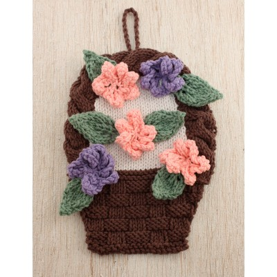 Flower Basket Dishcloth Free Knitting Pattern