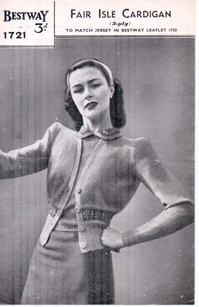 Free Vintage Knitting Pattern – Bestway 1721 Fair Isle Cardigan from WW2