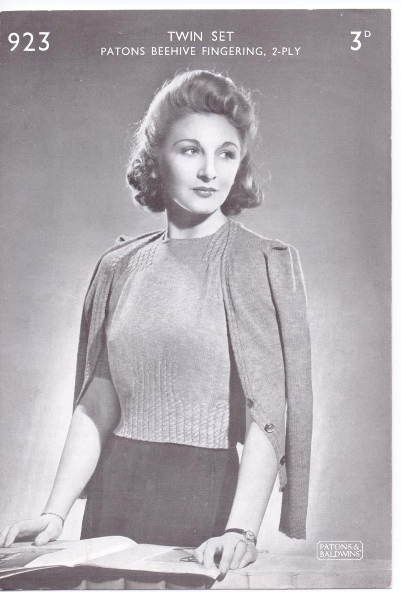 Free Vintage Knitting Pattern Ww2 Ladies Cable Twinset