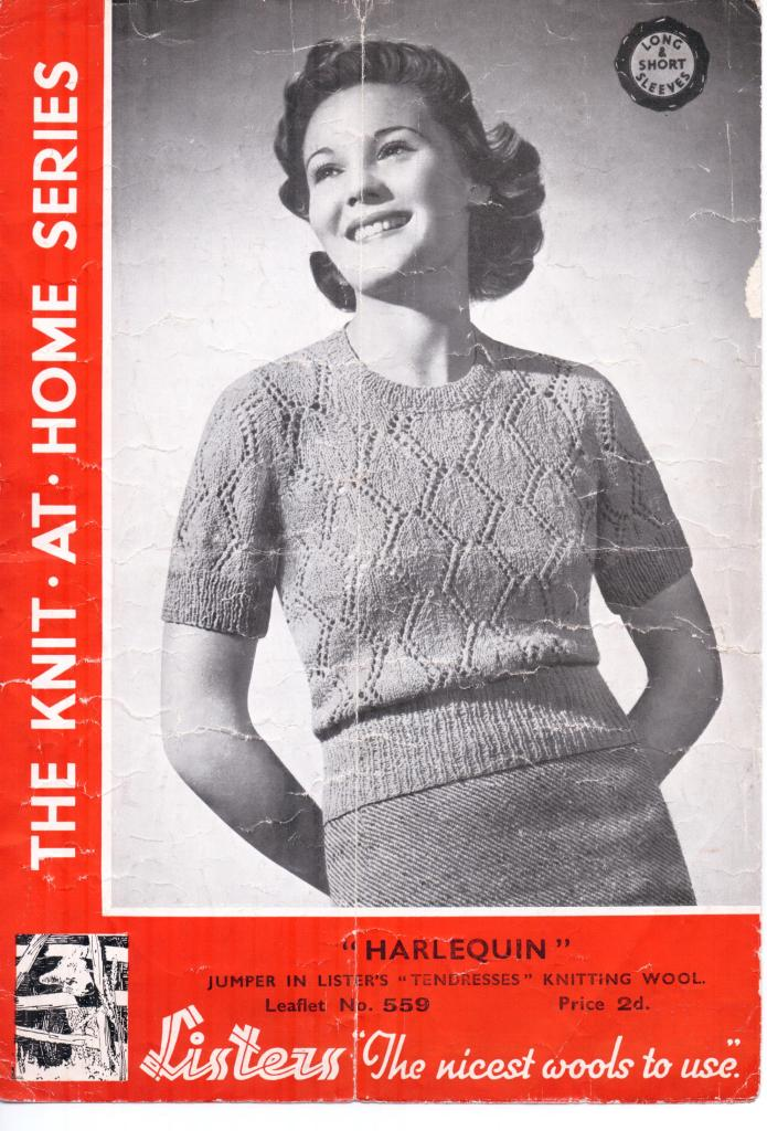 Free Vintage Knitting Pattern From 1930s Harlequin Knitting Bee