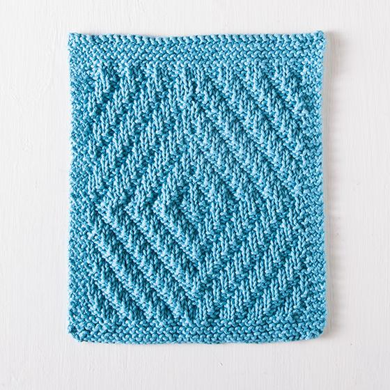 Rippling Diamonds Dishcloth Free Knitting Pattern