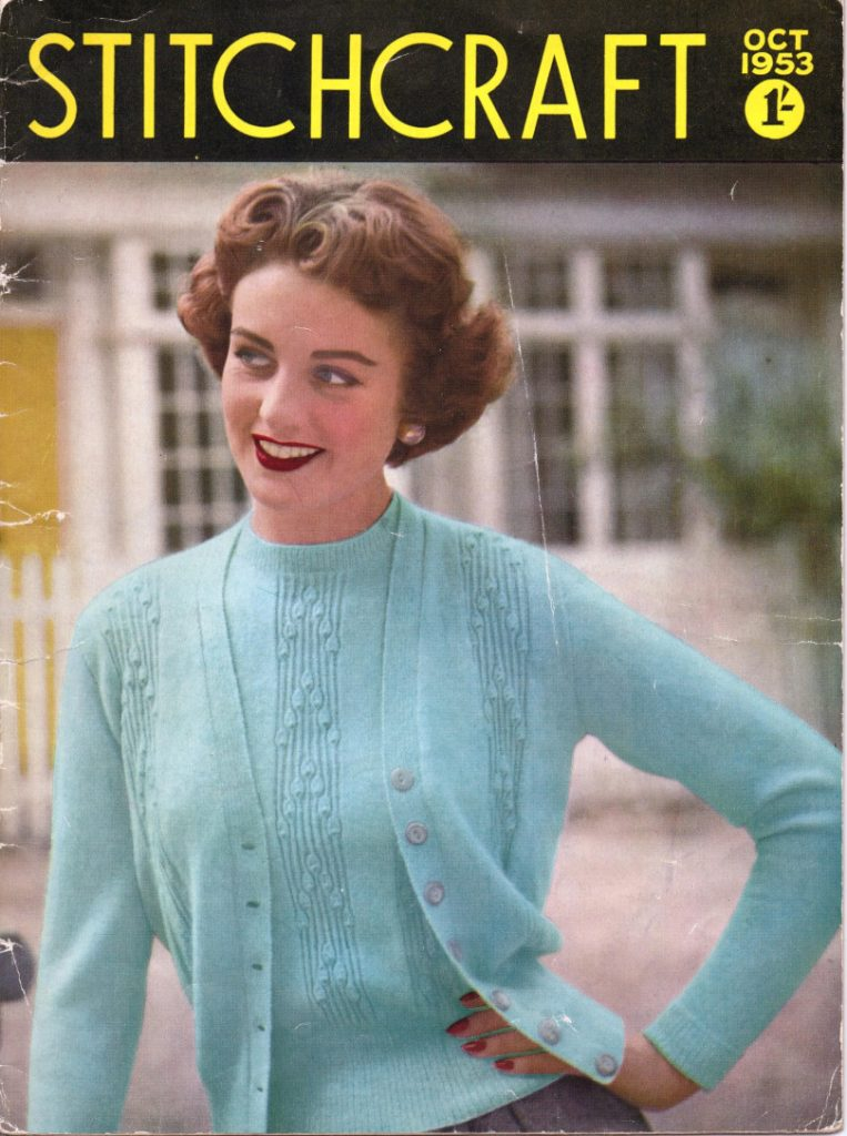 Stitchcraft October 1953 Twin Set Free Vintage Knitting Pattern