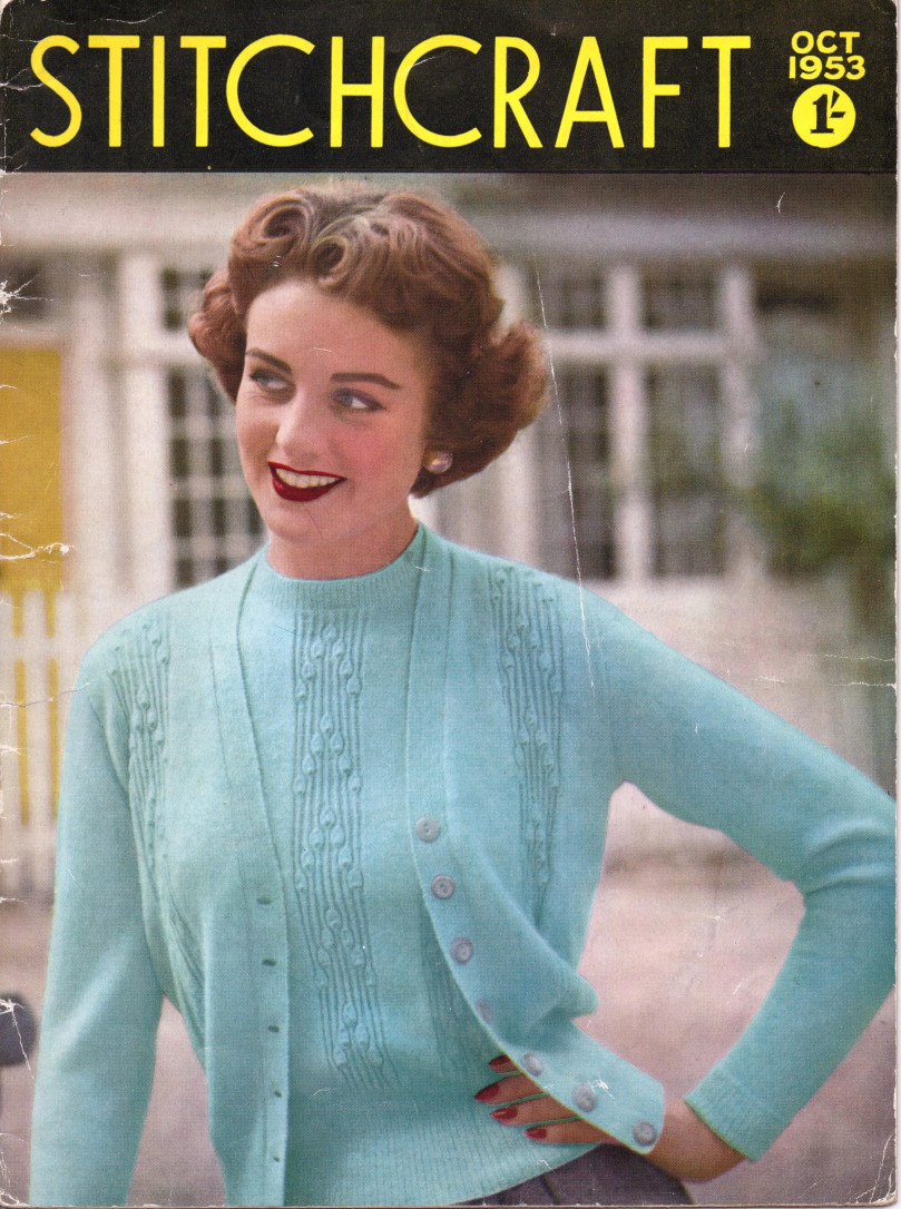 Stitchcraft October 1953 Twin Set Free Vintage Knitting